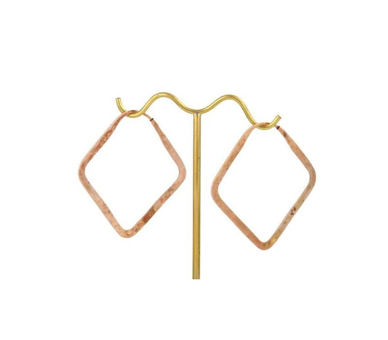 Small Square Hoop in Rose Gold