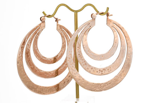 Tawapa Triple Flat Hoop in Rose Gold