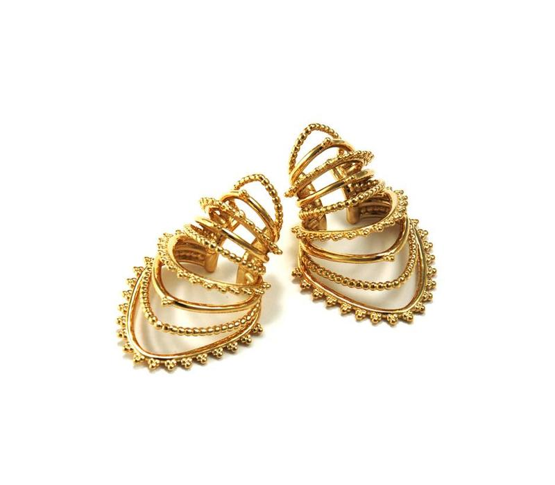 Beaded Warrior Ear Cuff in Yellow Gold