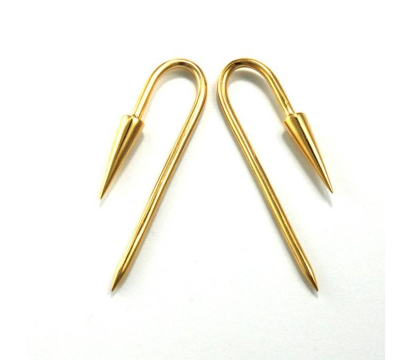Pyramid Hook in Yellow Gold, 8 Gauge