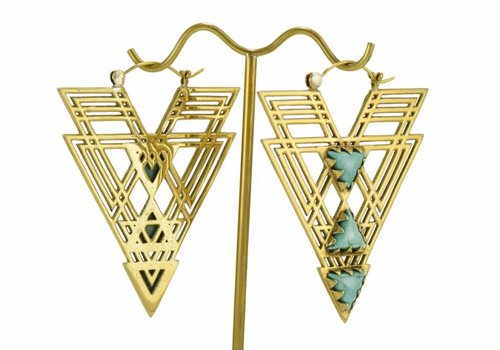 Tawapa Labyrinth in Brass with Turquoise stones