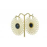 Dahlia in Brass with Sea Blue Stone