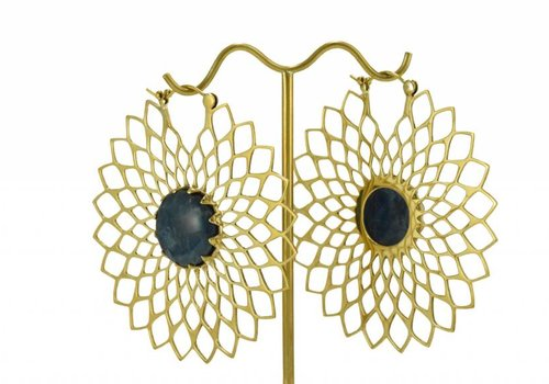 Tawapa Dahlia in Brass with Sea Blue Stone