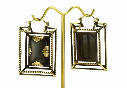 Tawapa Casket Earring in Brass with Obsidian
