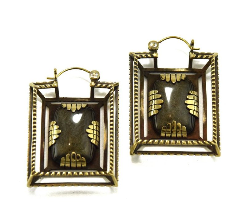 Casket Earring in Brass with Obsidian