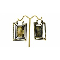 Casket Earring in Brass with Labradorite