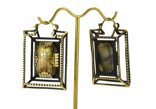 Tawapa Casket Earring in Brass with Labradorite