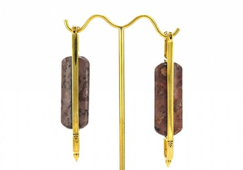 Tawapa Swivel Rectangle with Agate in Yellow Gold