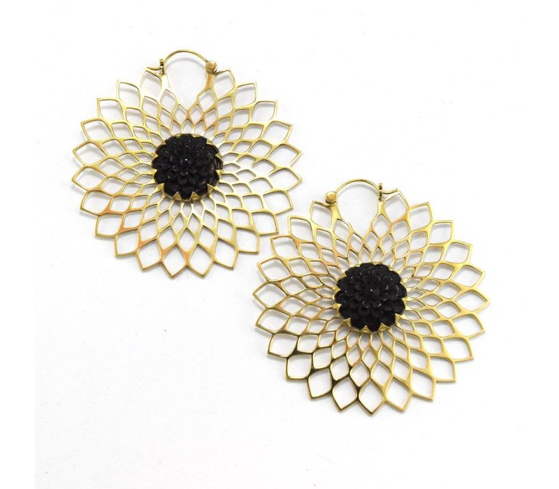 Dahlia hoops in Brass with horn