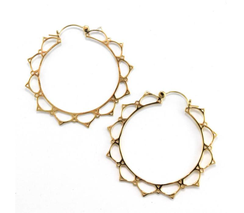 Lace Lotus Hoop in Yellow Gold