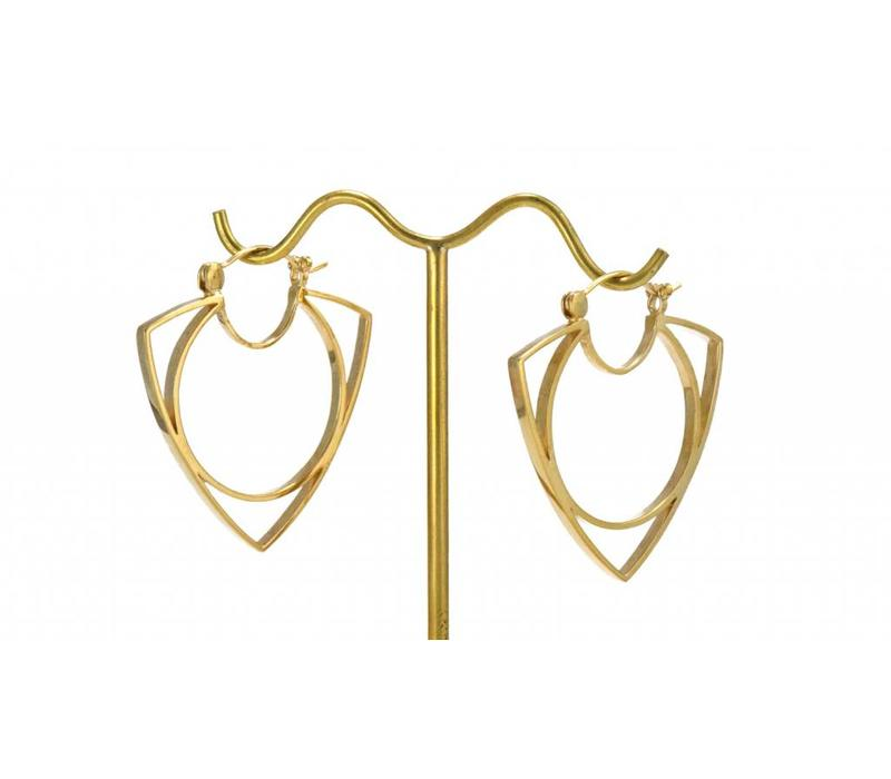 Mini Menage a Trois Hoop in Yellow Gold