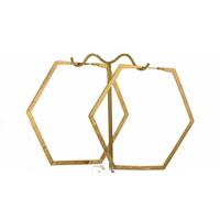 Large Hexagon Hoop in Yellow gold