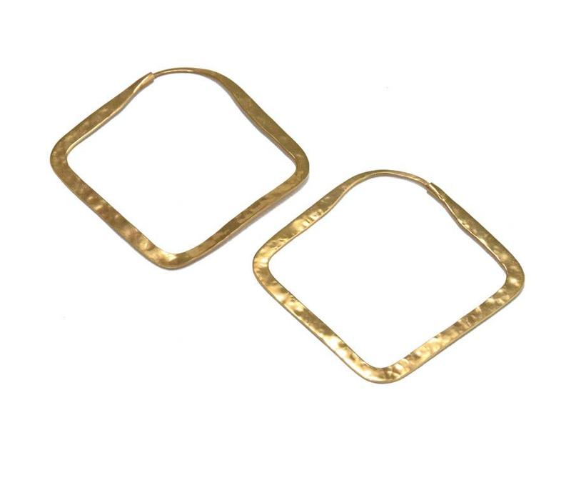 Small Square Hoop in Yellow Gold