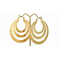 Triple Flat Hoop in Yellow Gold