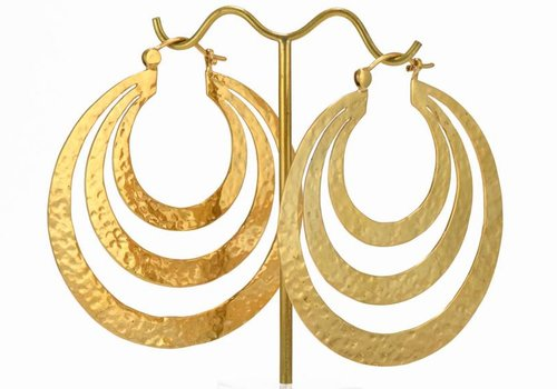 Tawapa Triple Flat Hoop in Yellow Gold