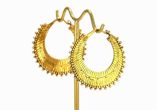 Tawapa Small Afghan Hoop in Yellow Gold