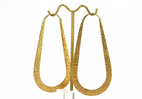 Tawapa Large Raindrop Hoop in Yellow Gold