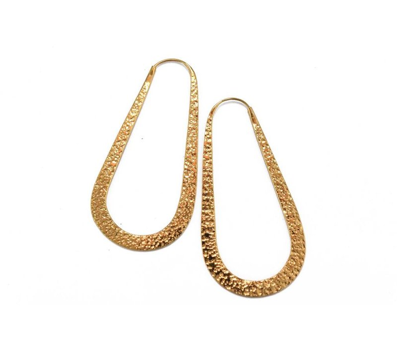 Large Raindrop Hoop in Yellow Gold