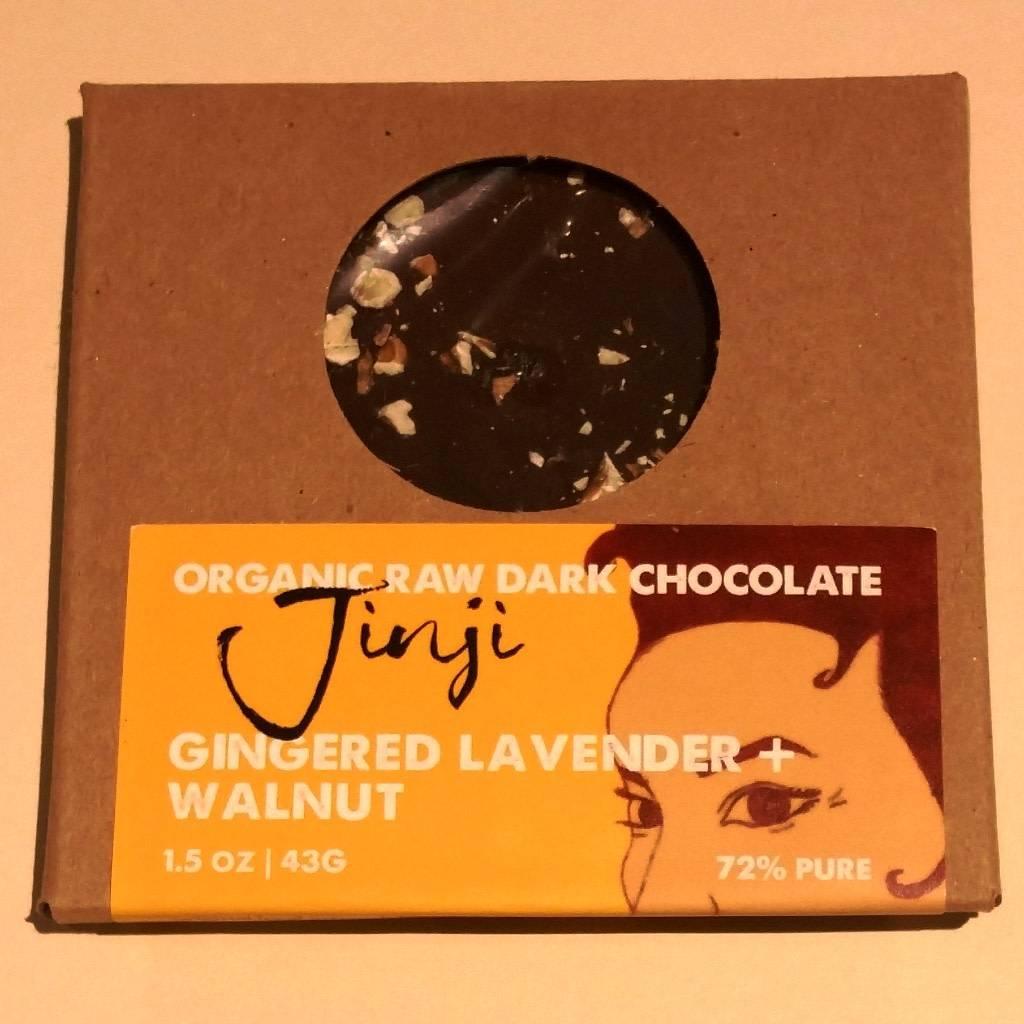 Jinji Chocolate Large Chocolate Bark - Ginger/Lavender/Walnut (72%)