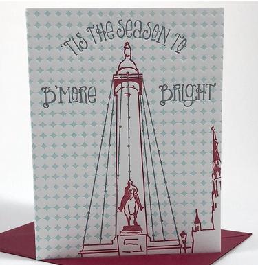 Tiny Dog Press B'More Bright Card - Red/Mint