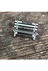 Tiny Dog Press Baltimore Bench Enamel Pin - Blue/Silver