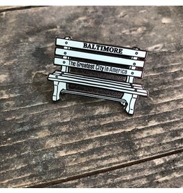 Tiny Dog Press Baltimore Bench Enamel Pin - Blue/Silver