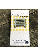 Tiny Dog Press Baltimore Maryland | Greatest City in America bench Pin, Blue/Silver