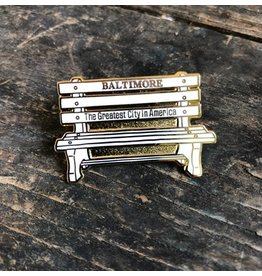 Tiny Dog Press Baltimore Bench Enamel Pin - White/Gold