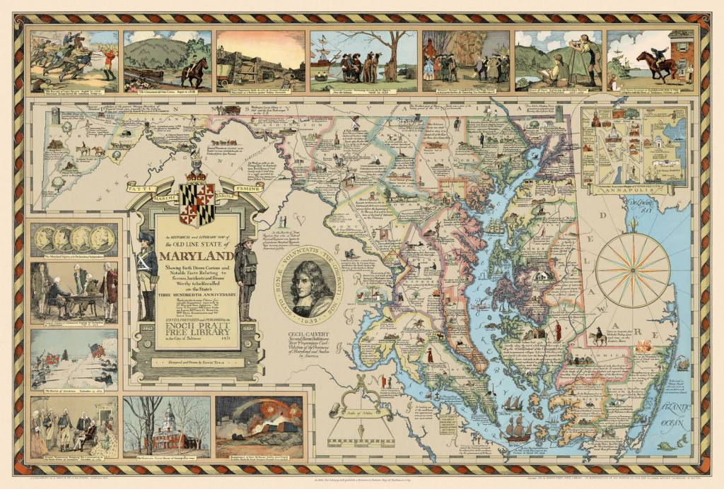Historical and Literary Map of The Old Line State of Maryland