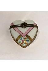 Limoges White & Pink Heart Trinket Box