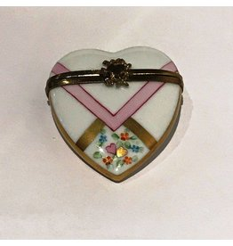 Limoges White & Pink Heart Trinket Box