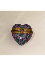 Limoges Purple Floral Heart Trinket Box