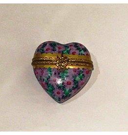 Limoges Purple Floral Heart Trinket Box