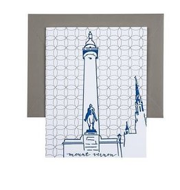 Tiny Dog Press Single Note Card - Washington Monument, Silver/Blue