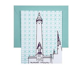 Tiny Dog Press Single Note Card - Washington Monument, Purple/Teal