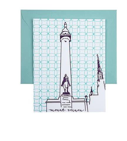 Tiny Dog Press Single Card- Washington Monument, Purple/Teal