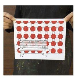 Tiny Dog Press Print- Baltimore Bench, 8x10, Grey/Red