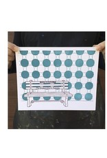 "Tiny Dog Press Baltimore Bench Print, Purple/Teal, 8x10"""
