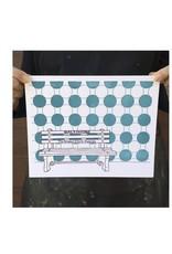 Tiny Dog Press Print- Baltimore Bench, 8x10, Purple/Teal