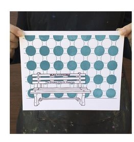 Tiny Dog Press Baltimore Bench Print, Purple/Teal