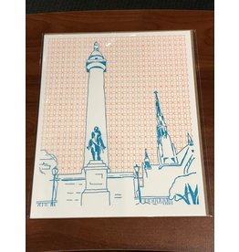 Tiny Dog Press Print- Washington Monument, 8x10, Orange/Turquoise