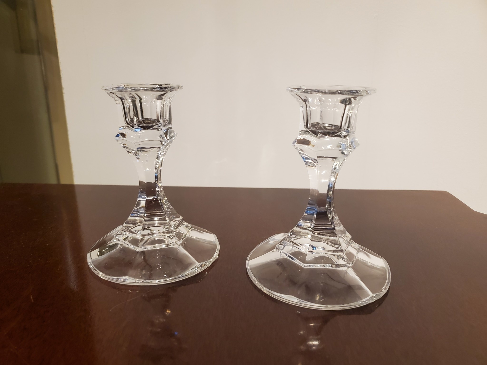 "Pair of 4"" Crystal Candlesticks"