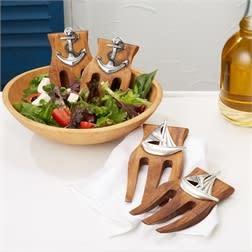 Wood Salad Hands- Anchor, Set of 2