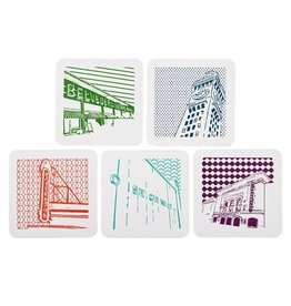 Tiny Dog Press Pack of 5 Baltimore Icon Letterpress Coasters