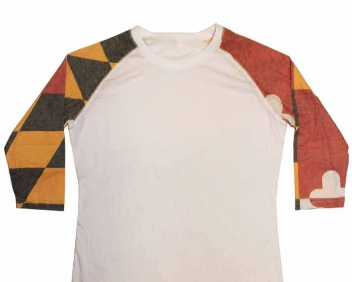 Route One Apparel Ladies MD Flag Sleeve Burnout Baseball Tee