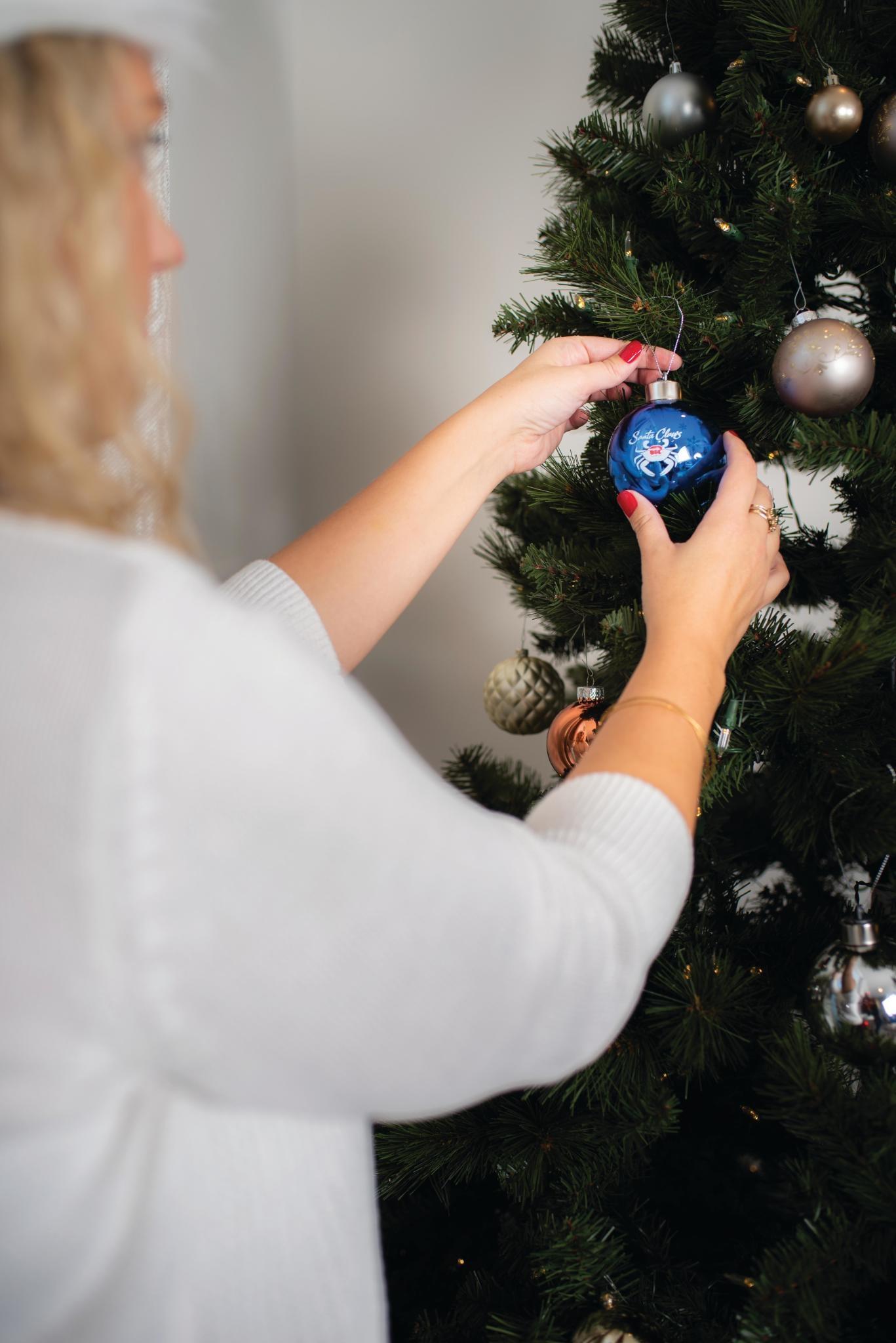 Santa Claws Light-Up Glass Ornament