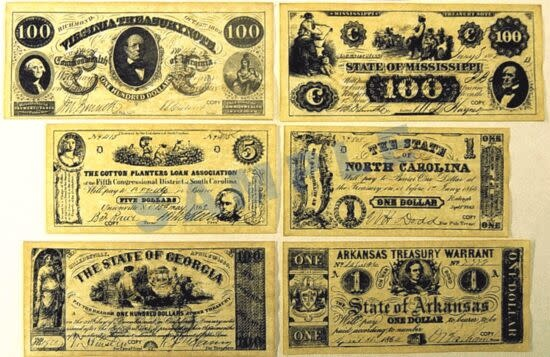 Historic Document - Confederate Currency, Set A