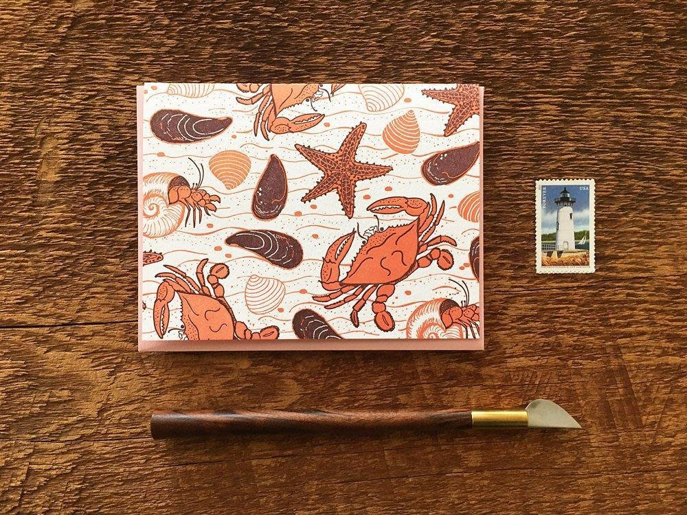 Crab Beach Notecards, set of 6
