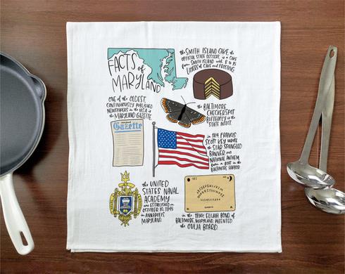 Allport Editions Maryland Facts Tea Towel