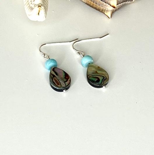 Paua Shell & Larimar Earrings